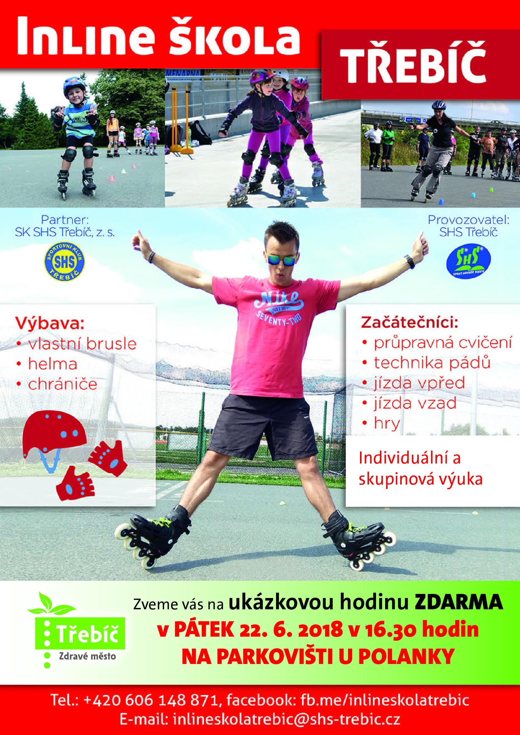 Inline škola - ukázková hodina @ parkoviště u Polanky | Třebíč | Kraj Vysočina | Česko