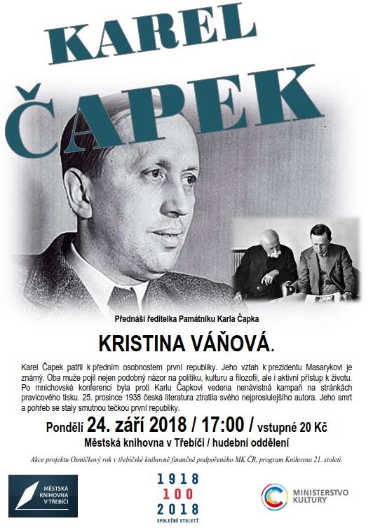 Karel Čapek @ Sál hudebního oddělení MK | Třebíč | Kraj Vysočina | Česko