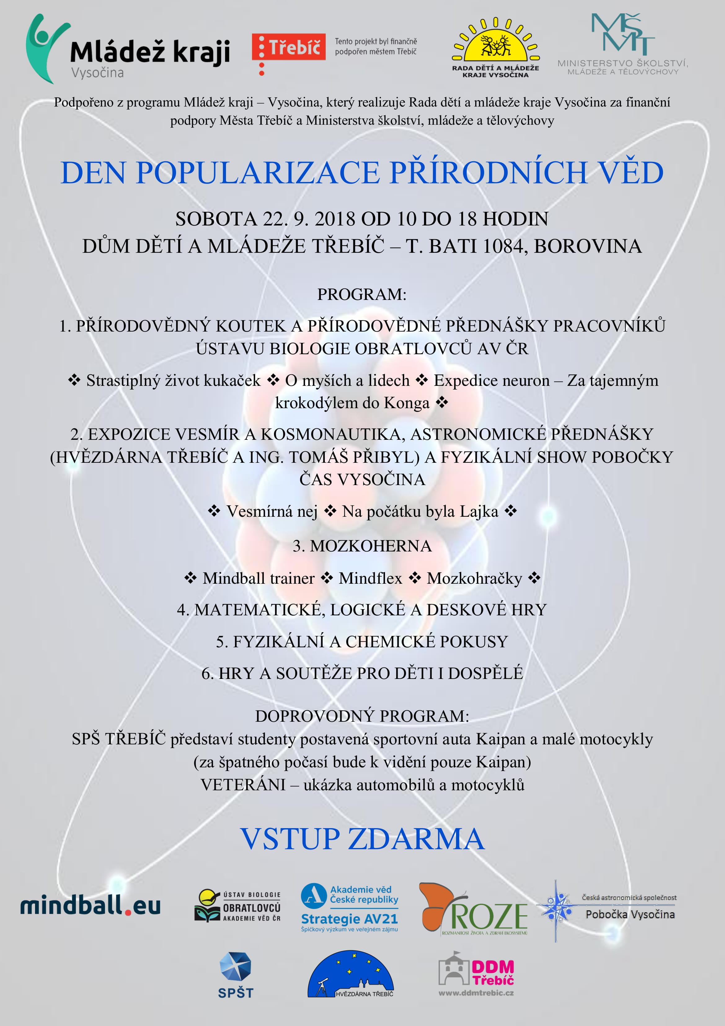Den popularizace přírodních věd @ DDM Třebíč | Třebíč | Kraj Vysočina | Česko