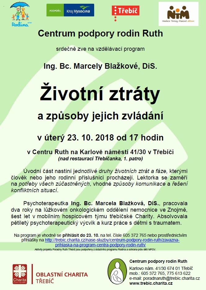Životní ztráty a způsoby jejich zvládání @ Centrum Ruth | Třebíč | Kraj Vysočina | Česko