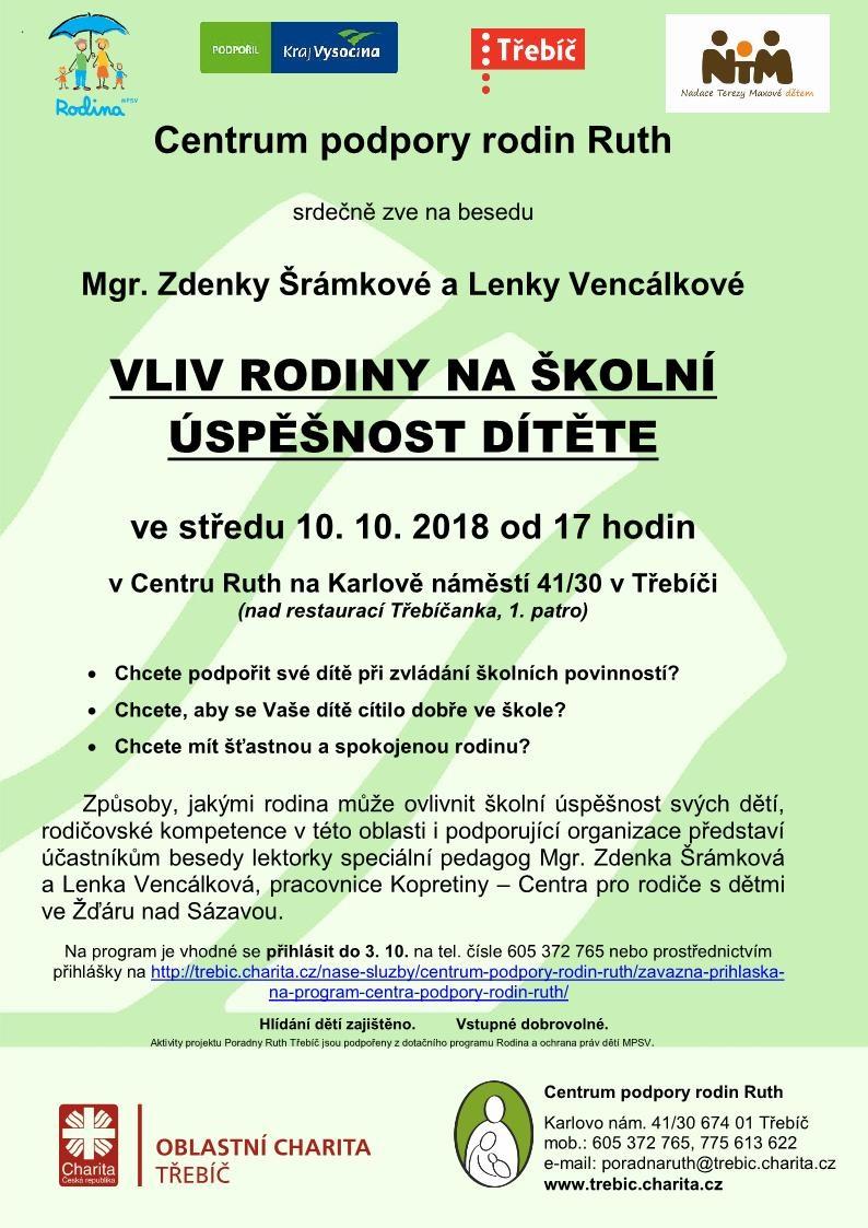 Vliv rodiny na školní úspěšnost dítěte @ Centrum Ruth | Třebíč | Kraj Vysočina | Česko