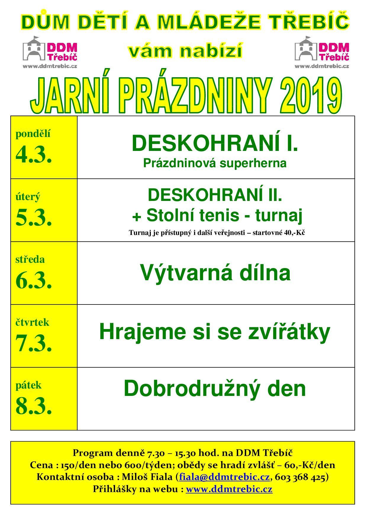 Jarní prázdniny v DDM @ DDM Třebíč