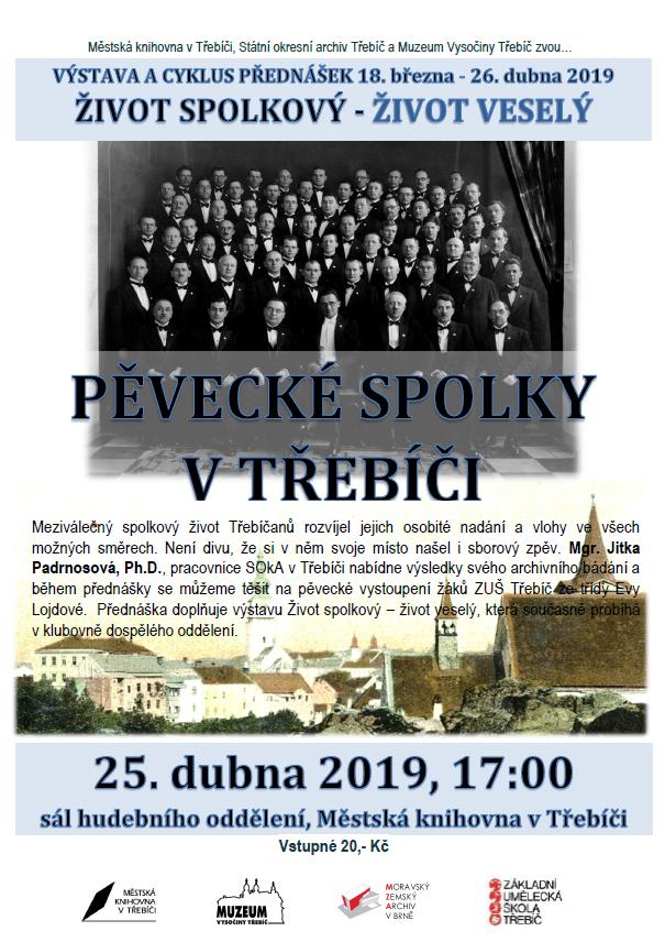 Pěvecké spolky v Třebíči @ sál hudebního oddělení Městské knihovny
