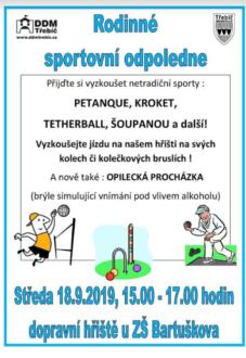 Rodinné sportovní odpoledne @ Dopravní hřiště u ZŠ Bartuškova