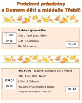 Podzimní prázdniny s DDM @ DDM Třebíč